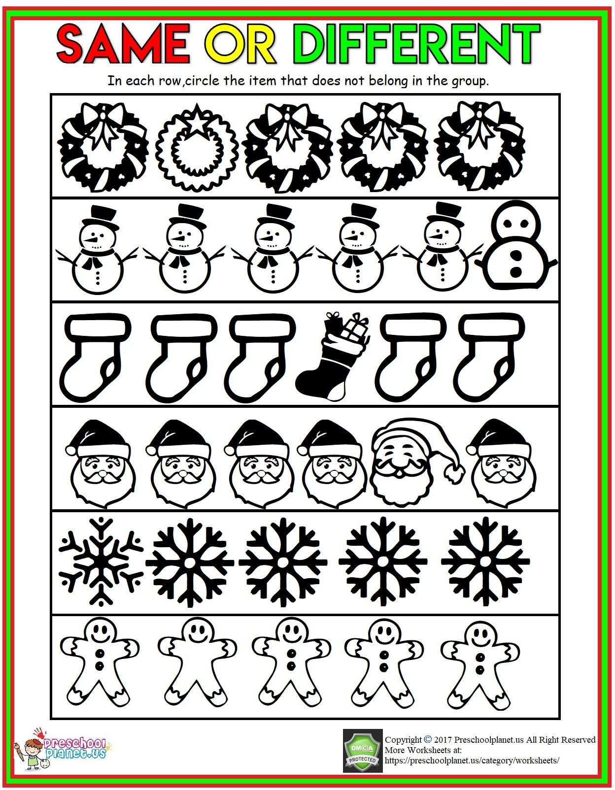 Winter Worksheets for First Grade Winter Same and Different Worksheet Play School Activities