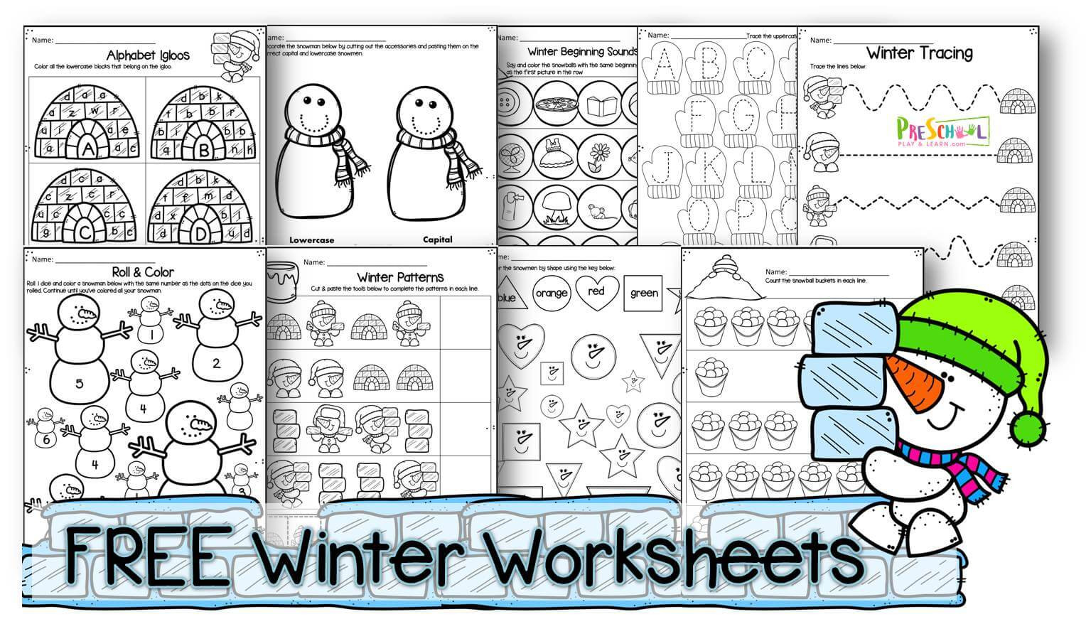 Winter Worksheets for First Grade Winter Worksheets for Preschool