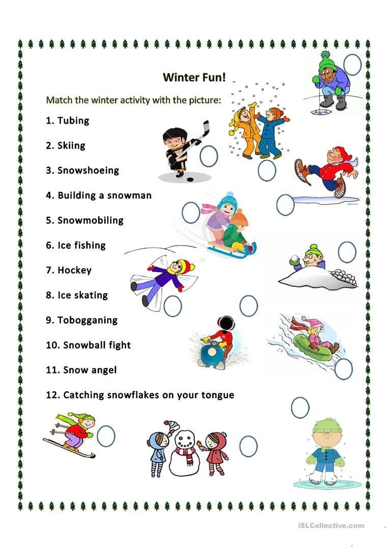 Winter Worksheets for Second Grade Esl Winter Worksheets