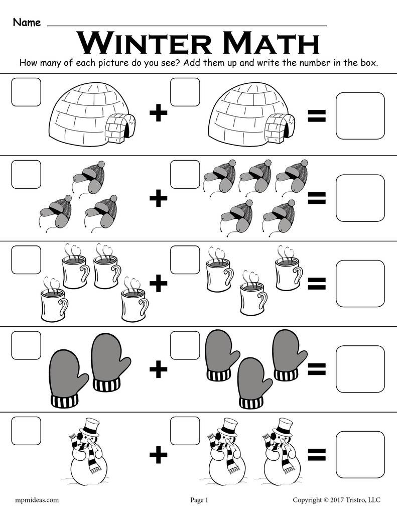"Winter Worksheets for Second Grade Winter themed ""addition with "" Math Worksheet"