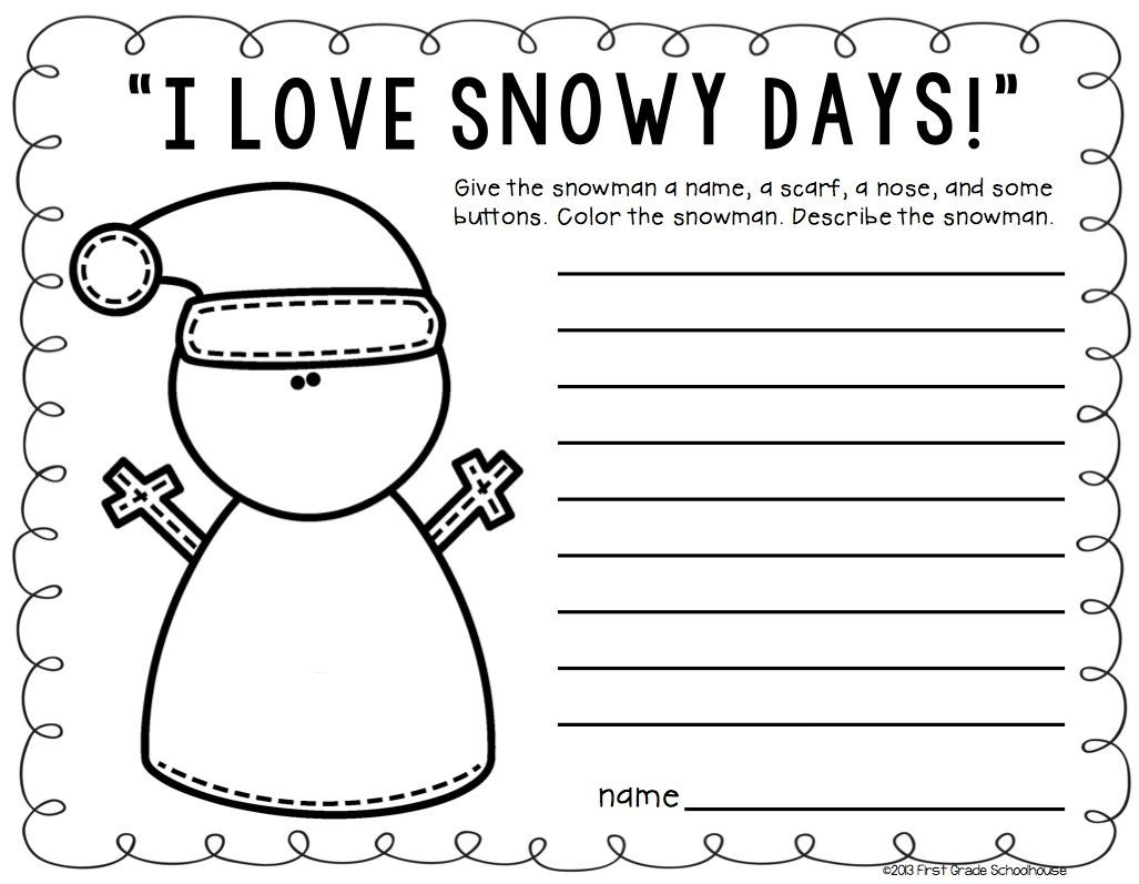 Winter Worksheets for Second Grade Winter Writing Second Grade