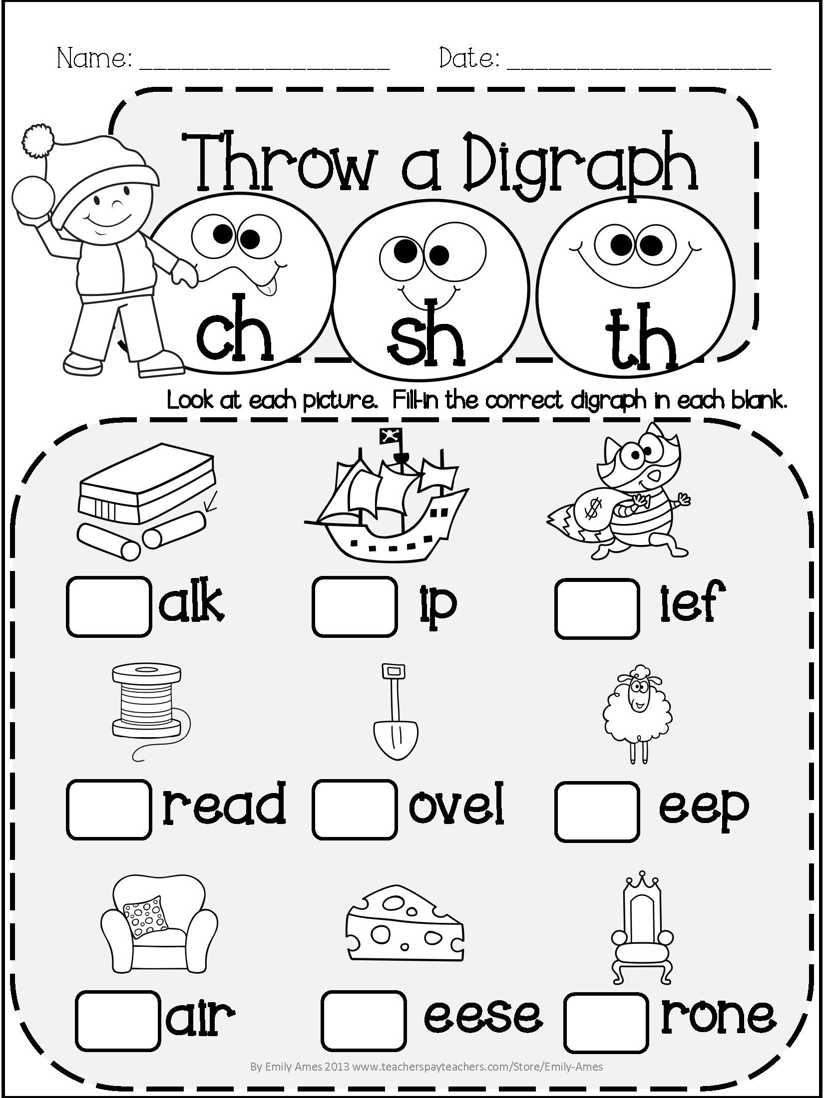Winter Worksheets for Second Grade Worksheets for Kindergarten Digraphs Kids Activities