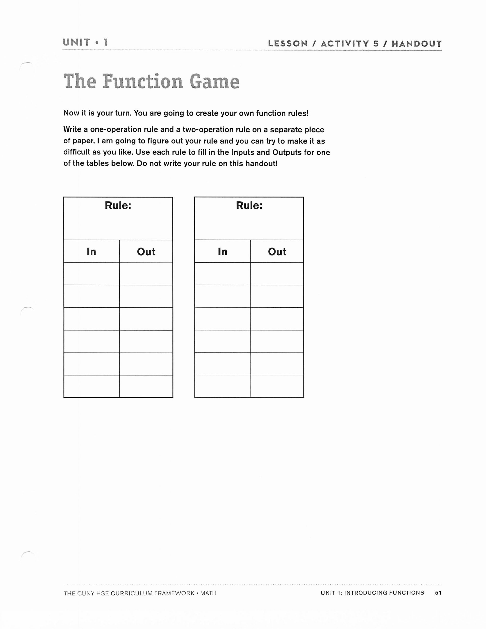 Writing A Function Rule Worksheet Lesson Plan 1