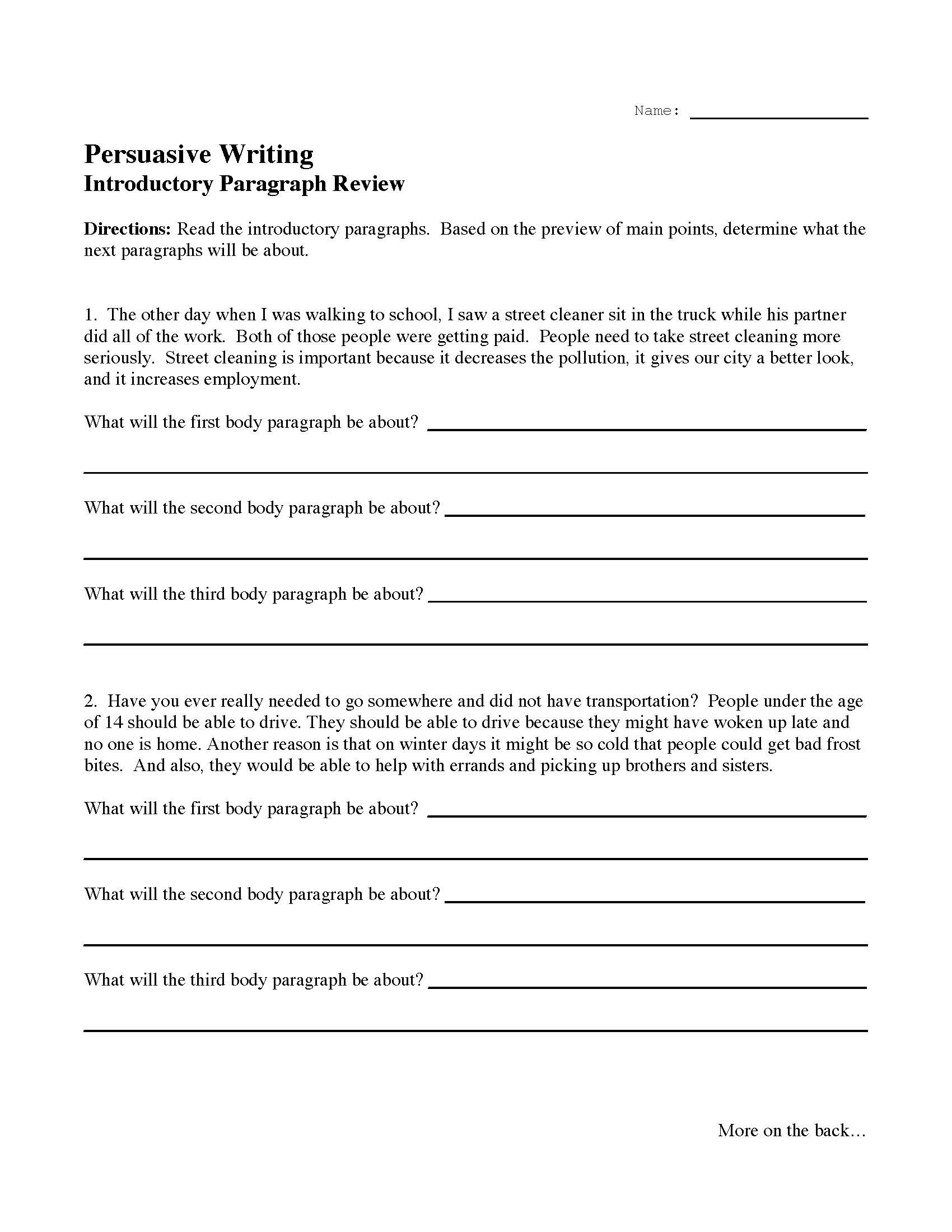 Writing A Paragraph Worksheet Introductory Paragraph Review Activity