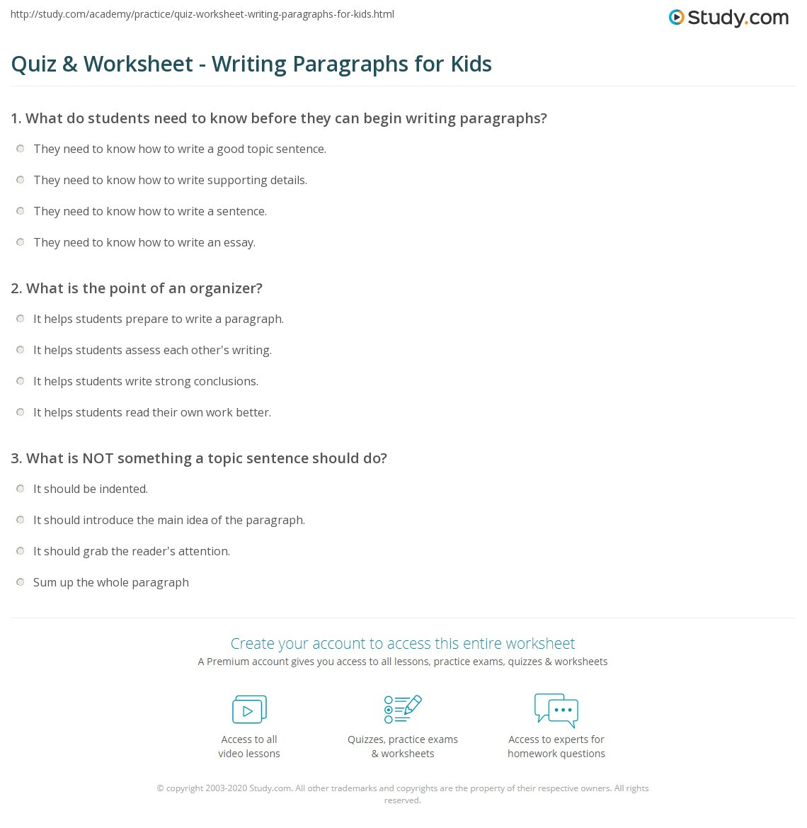 Writing A Paragraph Worksheet Quiz & Worksheet Writing Paragraphs for Kids