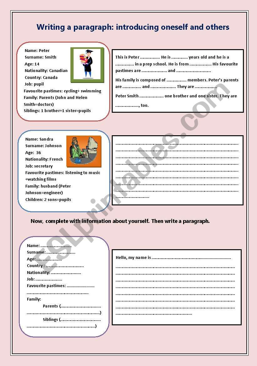 Writing A Paragraph Worksheet Writing A Paragraph Esl Worksheet by Nessrine78