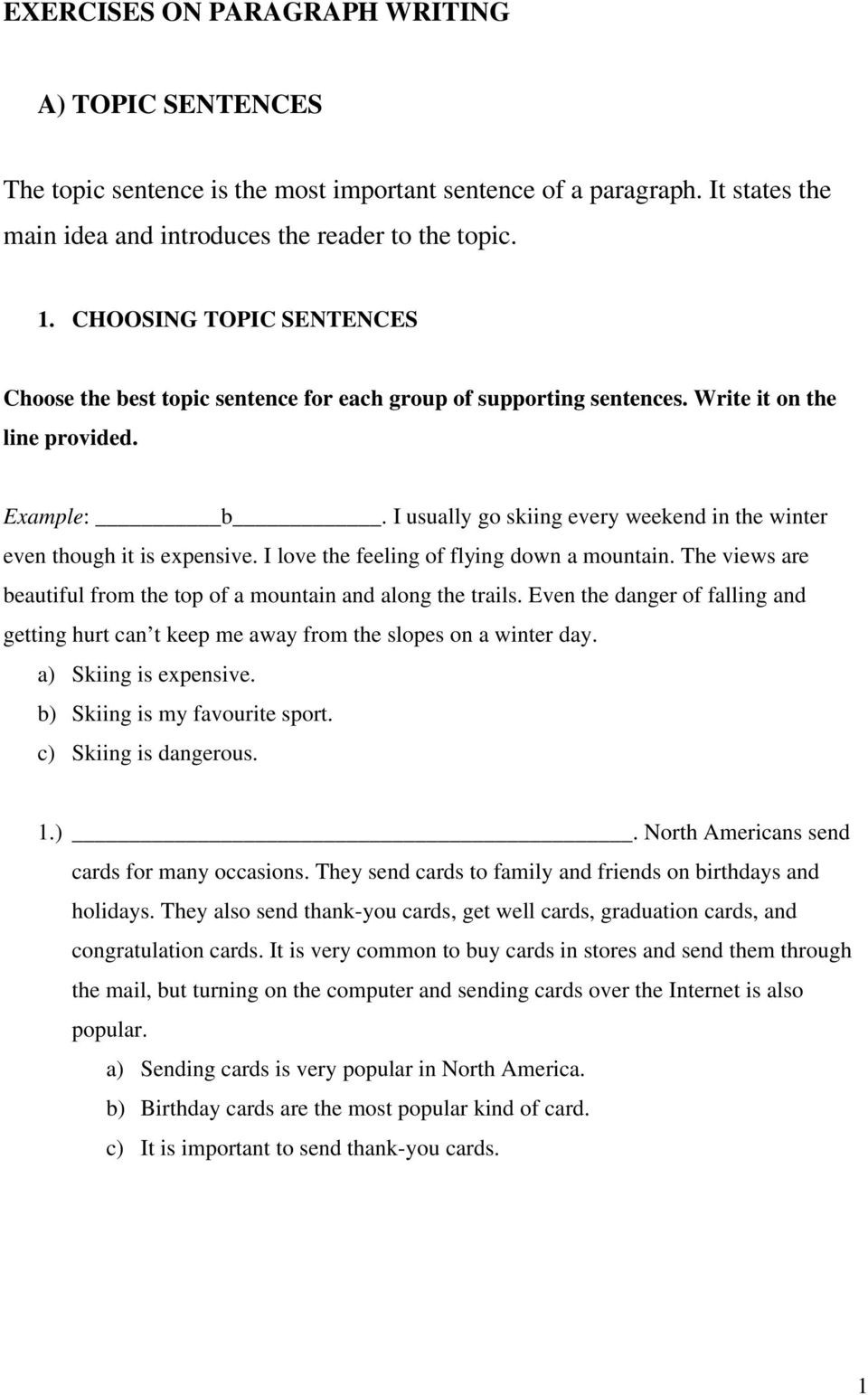 Writing A topic Sentence Worksheet Choose the Best topic Sentence for Each Group Of Supporting