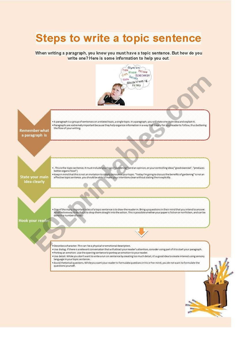 Writing A topic Sentence Worksheet Steps to Write A topic Sentence Esl Worksheet by Lorymorei