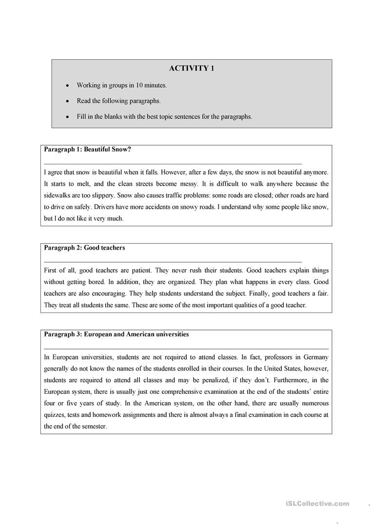 Writing A topic Sentence Worksheet Writing A topic Sentence English Esl Worksheets for