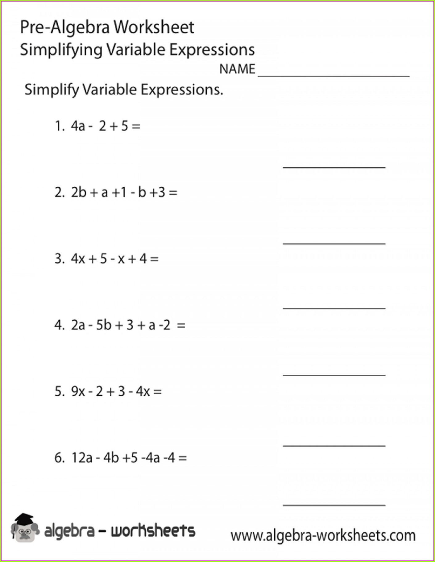 Writing Algebraic Expressions Worksheet Writing Algebraic Expressions Word Worksheet