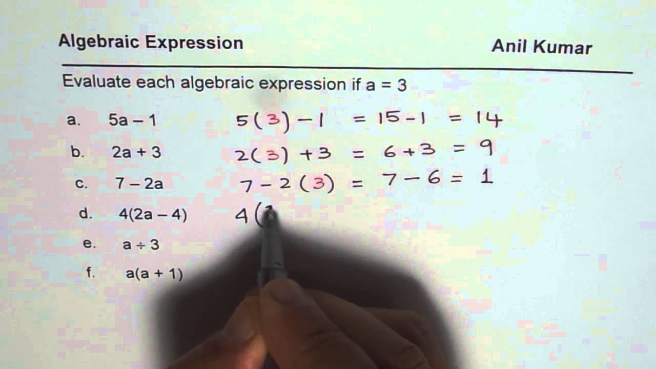 Writing and Evaluating Expressions Worksheet Practice Worksheet to Evaluate Algebraic Expressions