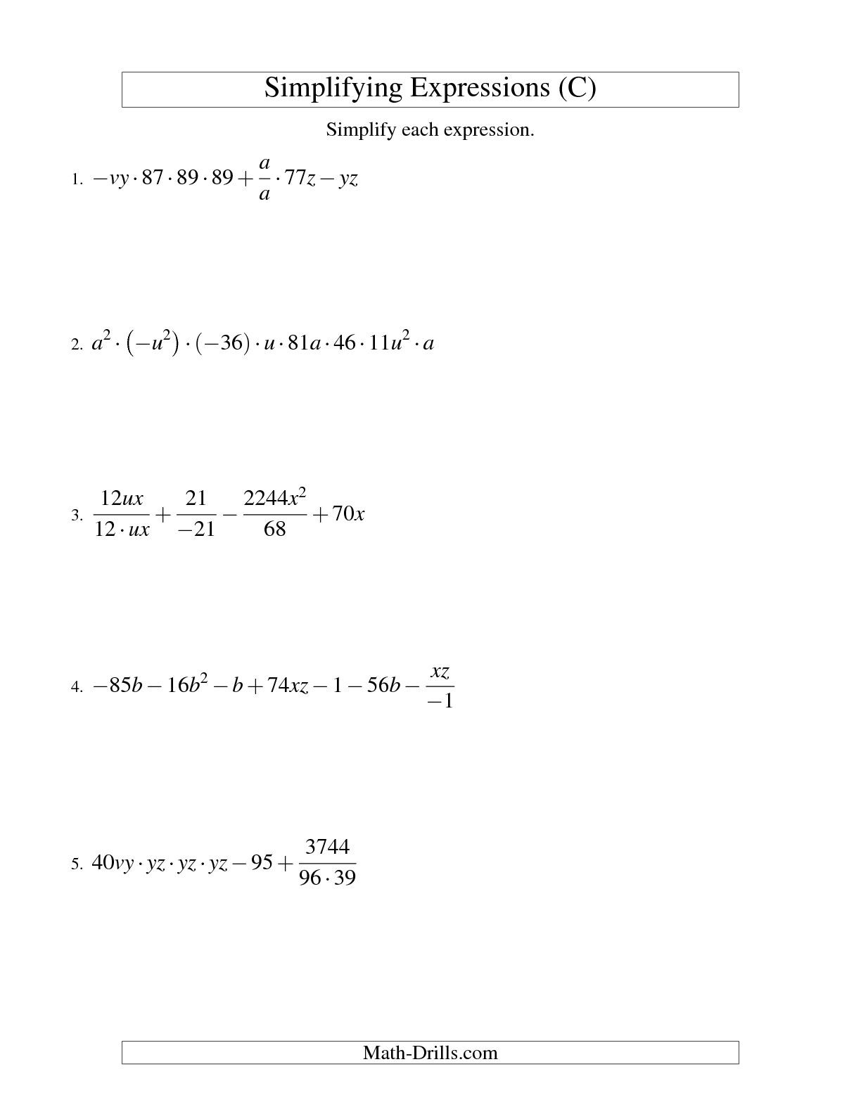 Writing and Evaluating Expressions Worksheet Writing Algebraic Expressions Word Worksheet