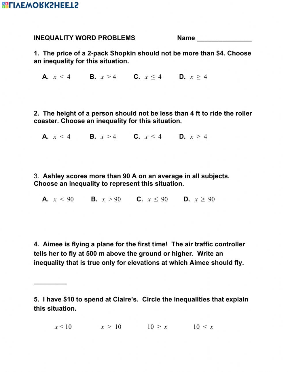 Writing and Graphing Inequalities Worksheet Inequality Word Problems Interactive Worksheet
