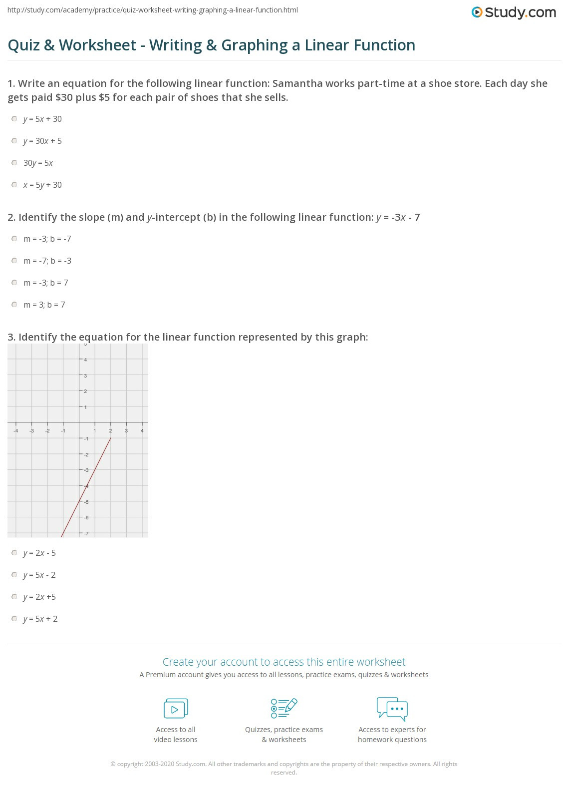 Writing and Graphing Inequalities Worksheet Quiz & Worksheet Writing & Graphing A Linear Function