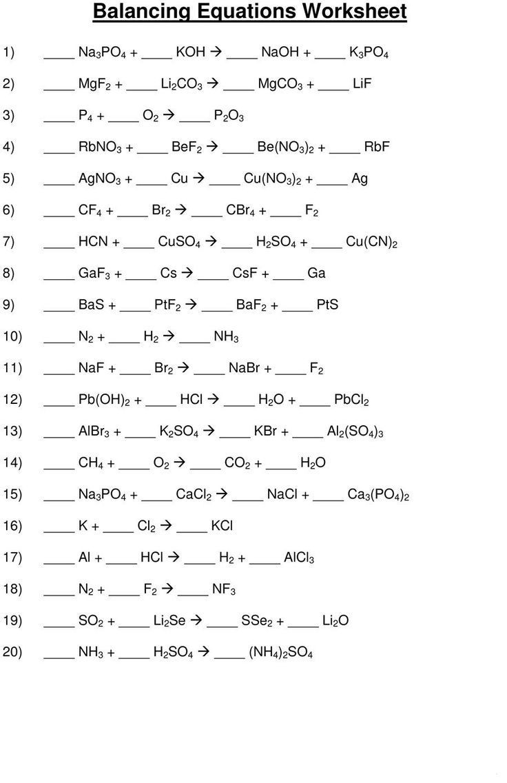 Writing Chemical Equations Worksheet 49 Balancing Chemical Equations Worksheets [with Answers] In