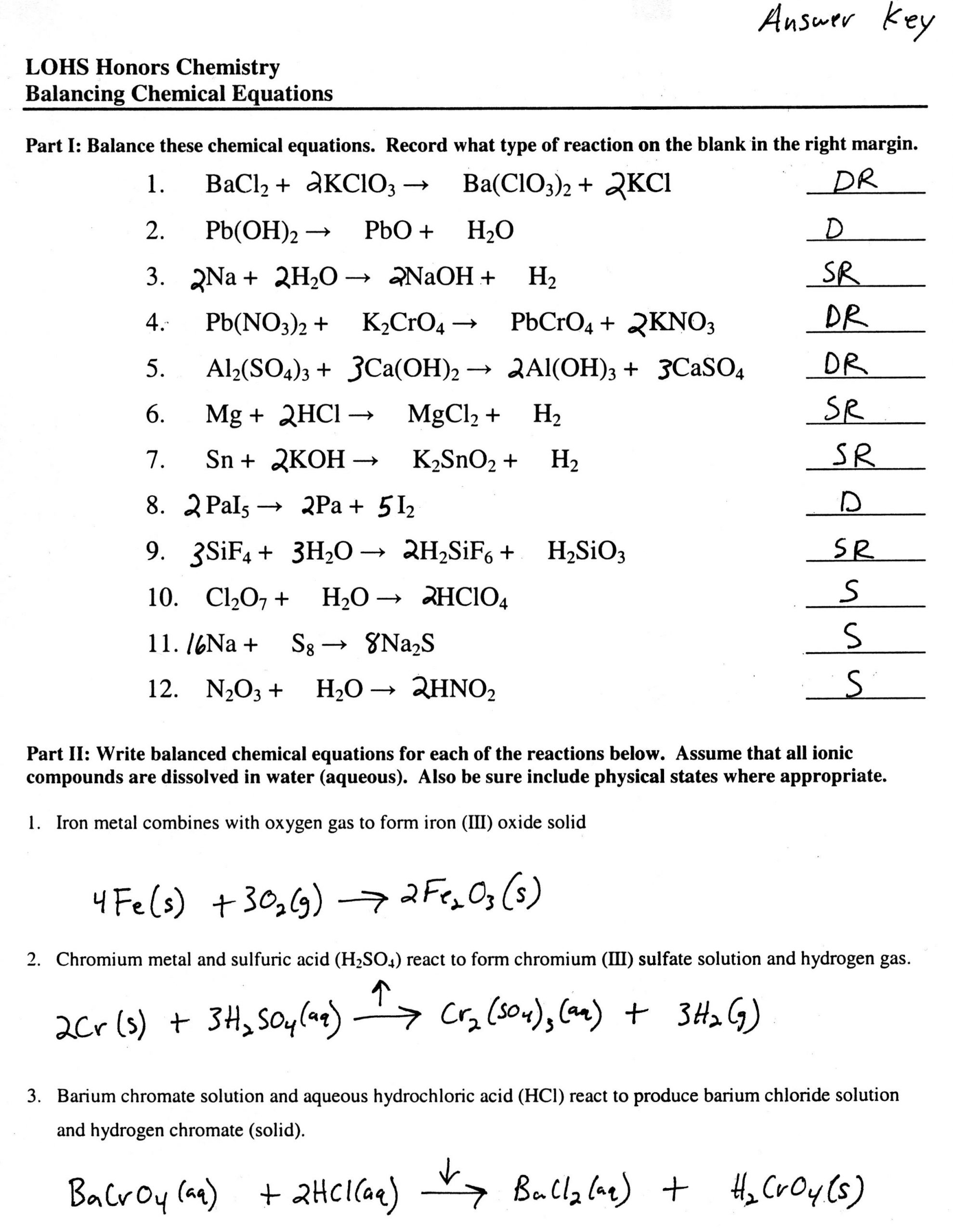 Writing Chemical Equations Worksheet Balancing Equations Worksheet In 2020