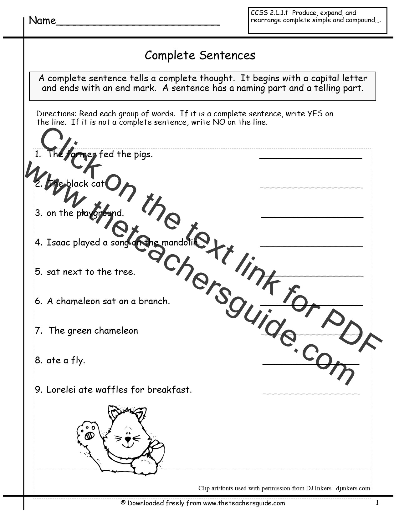 Writing Complete Sentences Worksheets Free Writing and Language Arts From the Teacher S Guide