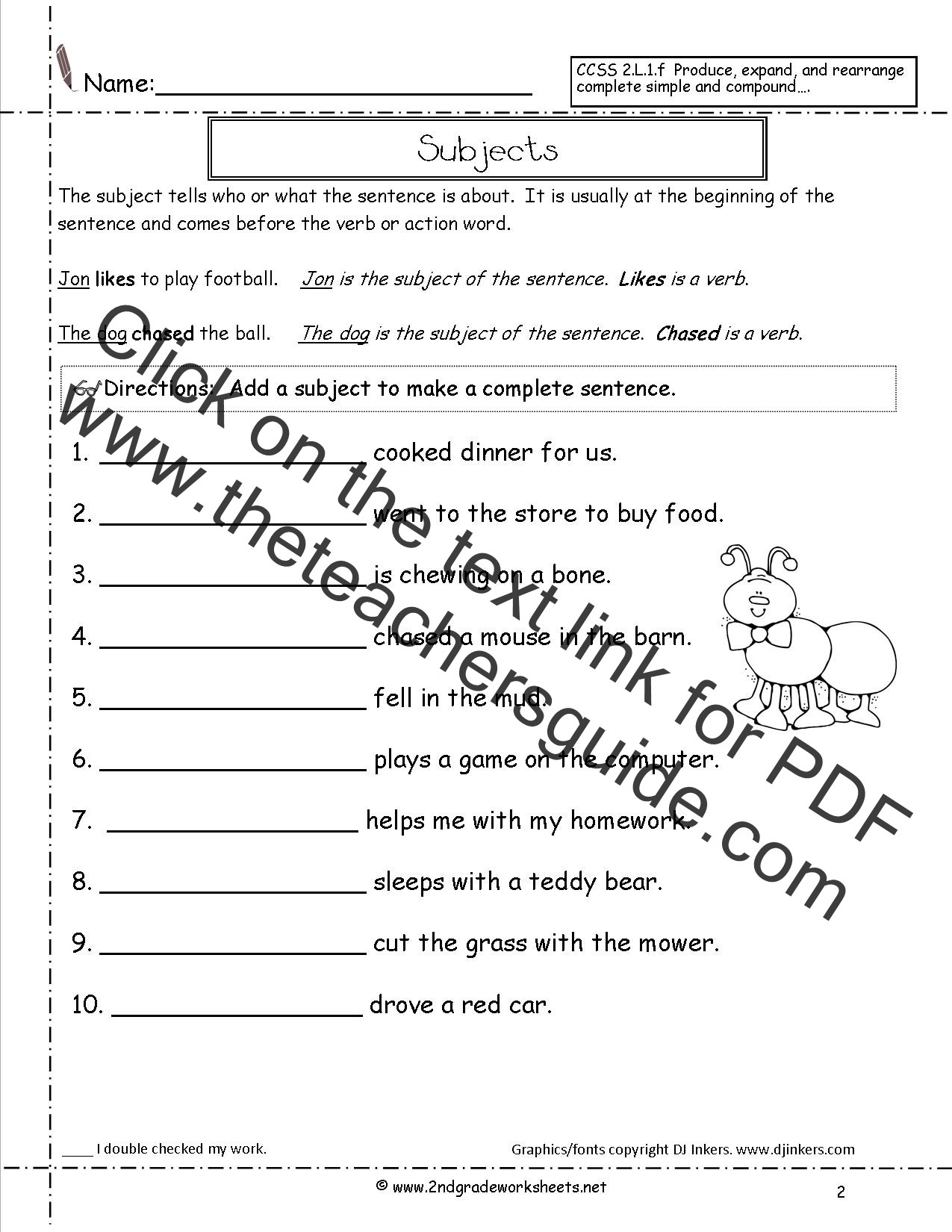 Writing Complete Sentences Worksheets Second Grade Sentences Worksheets Ccss 2 L 1 F Worksheets