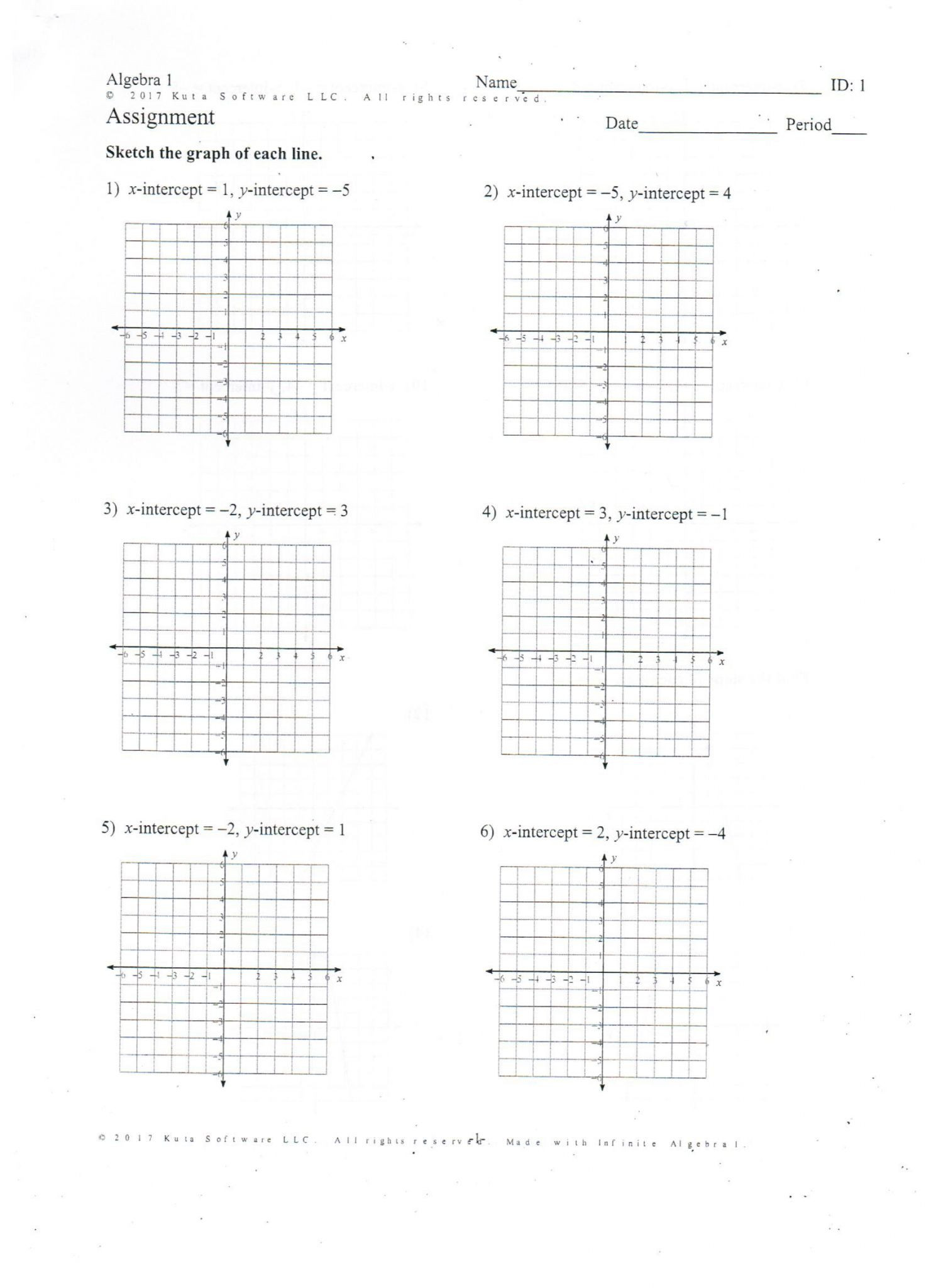 Writing Equations From Graphs Worksheet Algebra 1 Slope Intercept form Worksheet