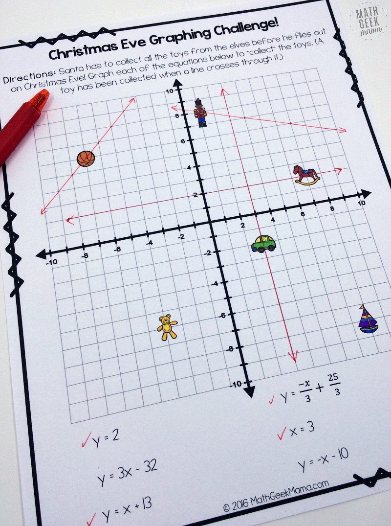 Writing Equations From Graphs Worksheet Christmas Challenge Graphing Linear Equations Practice Free