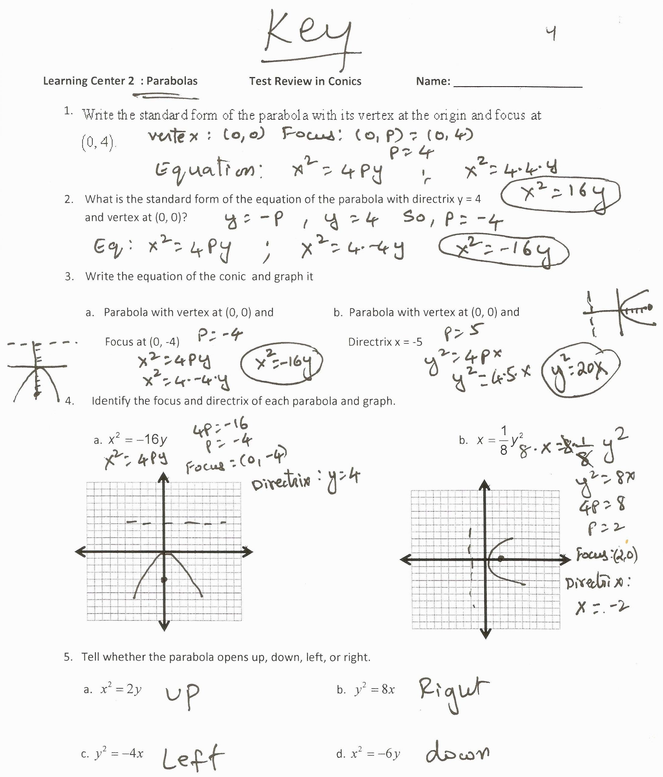 Writing Equations From Graphs Worksheet Parabola Worksheet Algebra