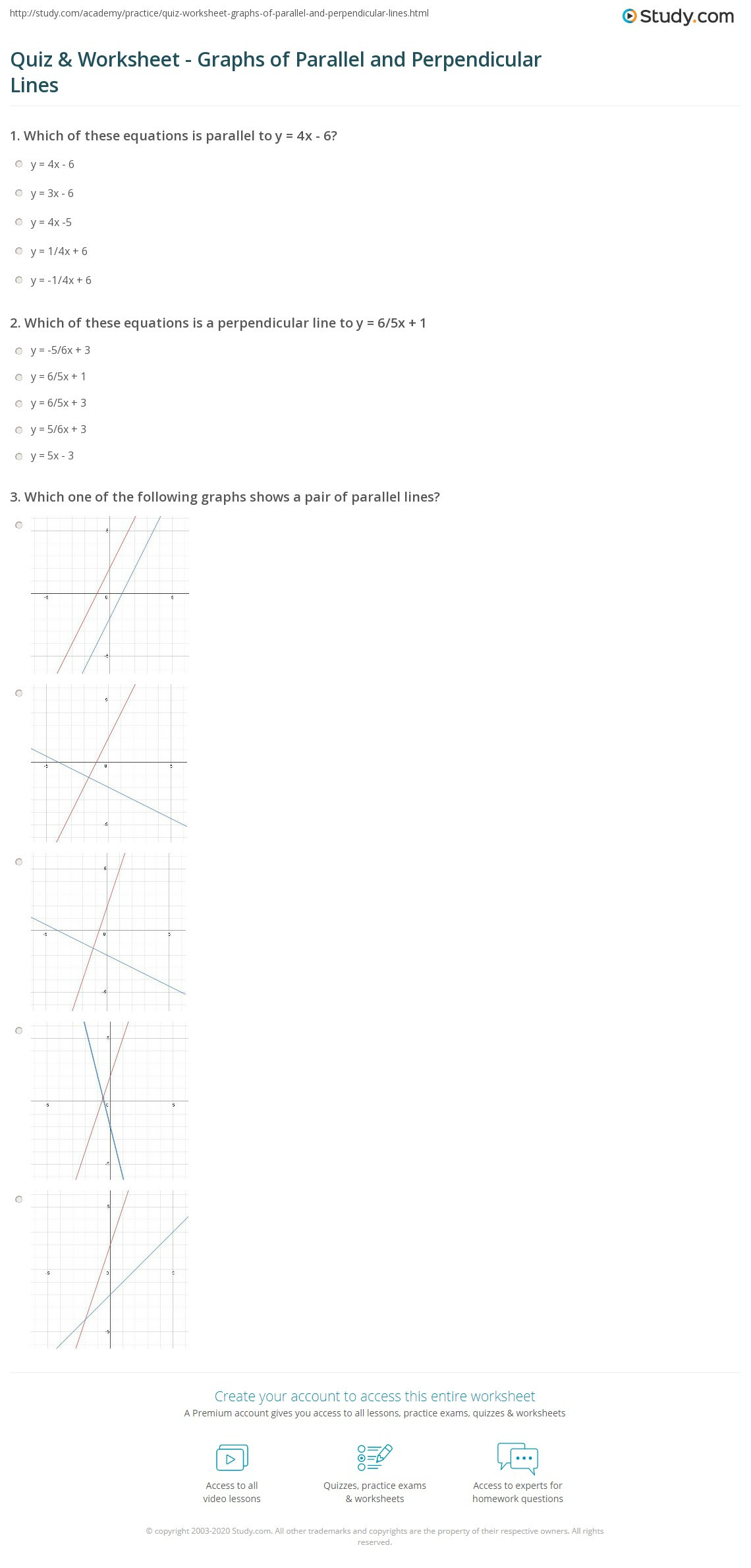 Writing Equations From Graphs Worksheet Quiz & Worksheet Graphs Of Parallel and Perpendicular