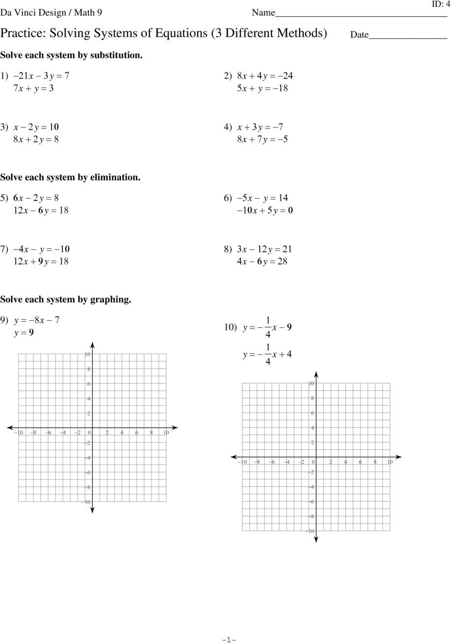 Writing Equations From Graphs Worksheet Writing A System Of Equations