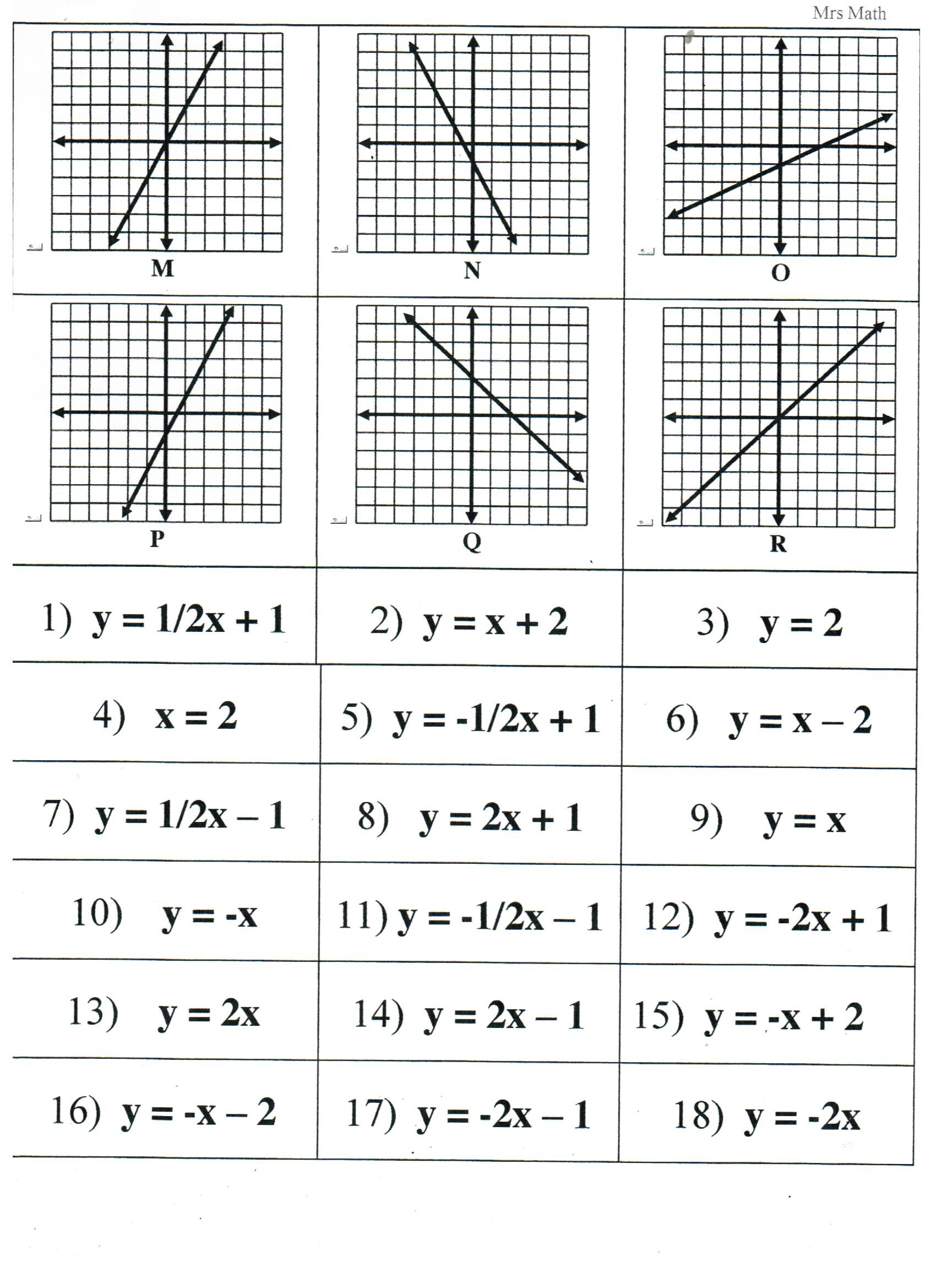 Writing Equations From Tables Worksheet Matching Equations Tables and Graphs Worksheet Answers