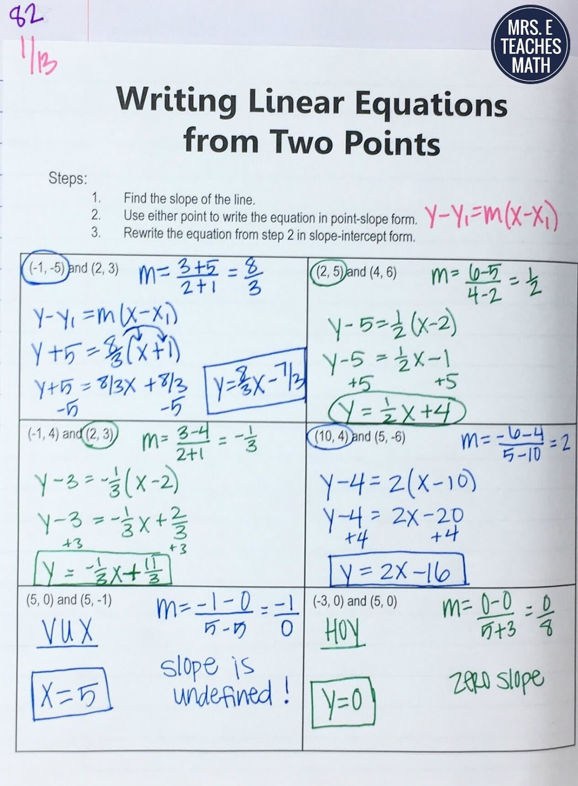 Writing Equations Of Lines Worksheets 25 Ideas for Teaching Equations Of Lines