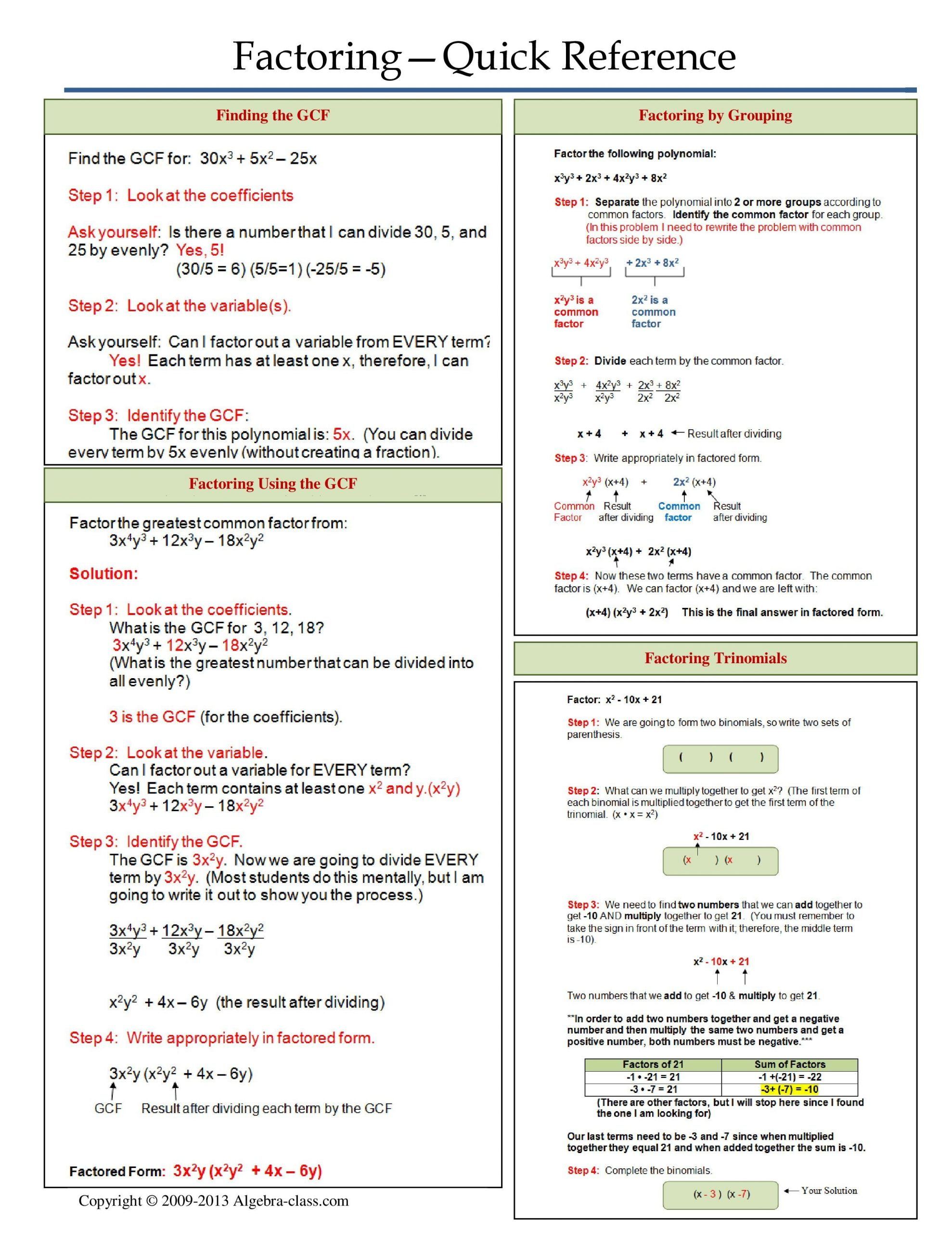 Writing Function Rules Worksheet E Page Notes Worksheet for Factoring Unit