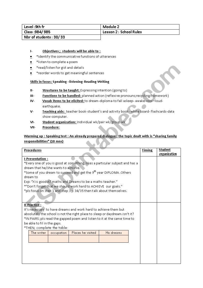 Writing Function Rules Worksheet Plan School Rules 9th Esl Worksheet by Loubaba