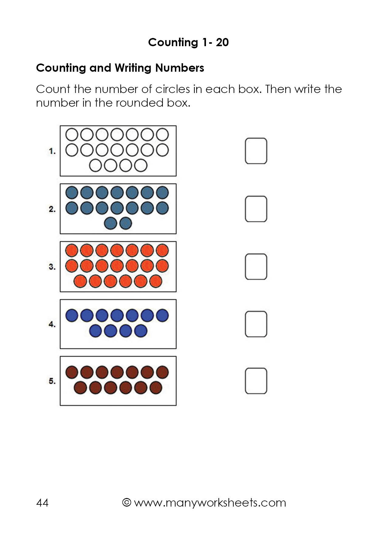 Writing Number Worksheets 1 20 Counting Dots to 20 and Writing Numbers