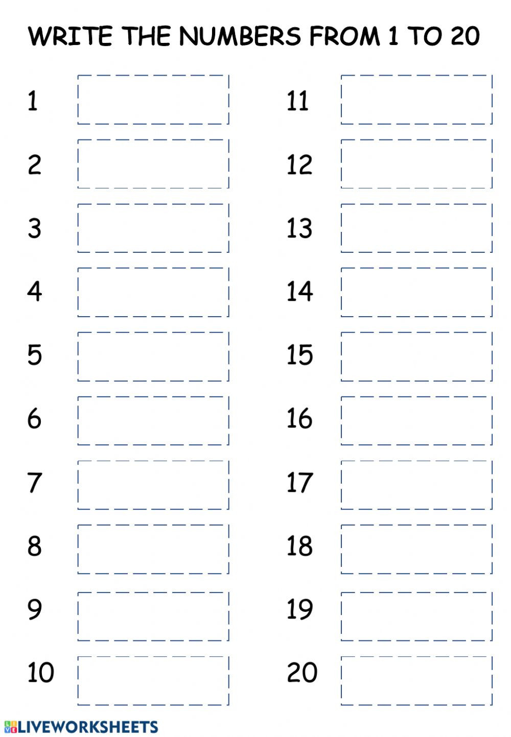 Writing Number Worksheets 1 20 Writing Numbers 1 20 Interactive Worksheet