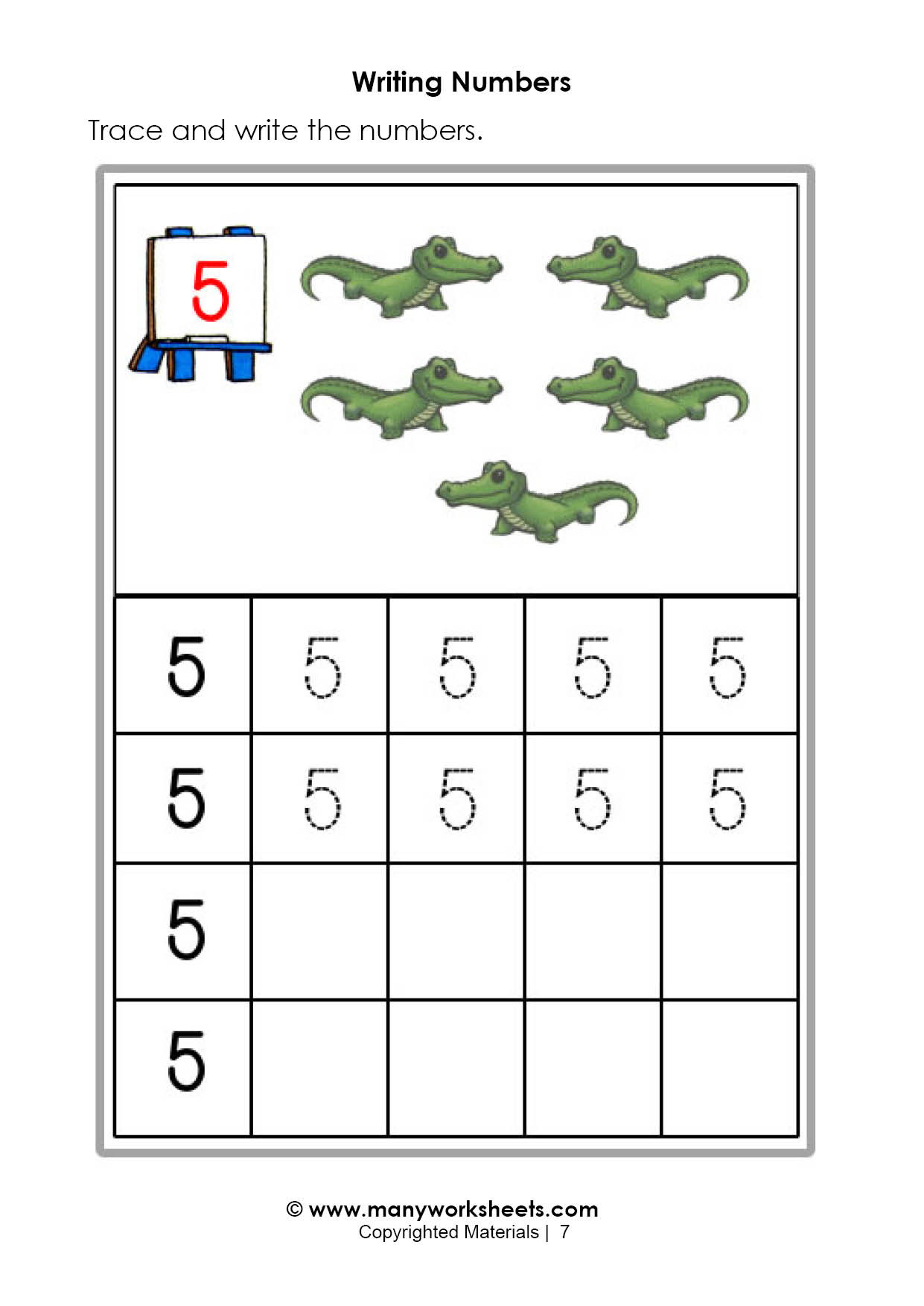 Writing Numbers 1 10 Worksheets Tracing and Writing Number 5