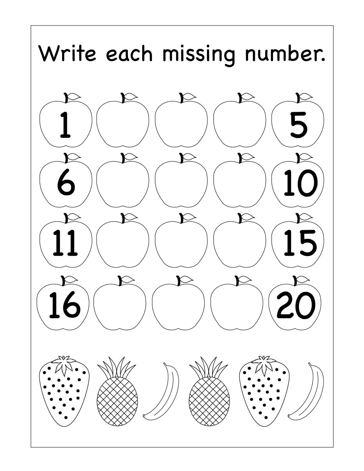 Writing Numbers Worksheet 1 20 Missing Numbers Archives