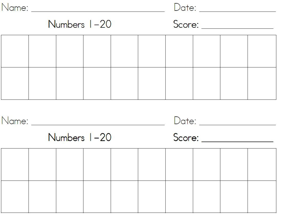 Writing Numbers Worksheet 1 20 Printable Math Worksheet Writing Numbers to 20