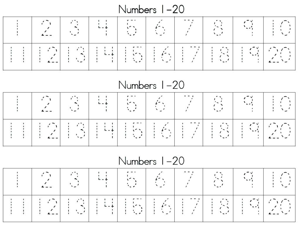 Writing Numbers Worksheet 1 20 Trace and Write Numbers 1 20 Trace Numbers 1 for Kids