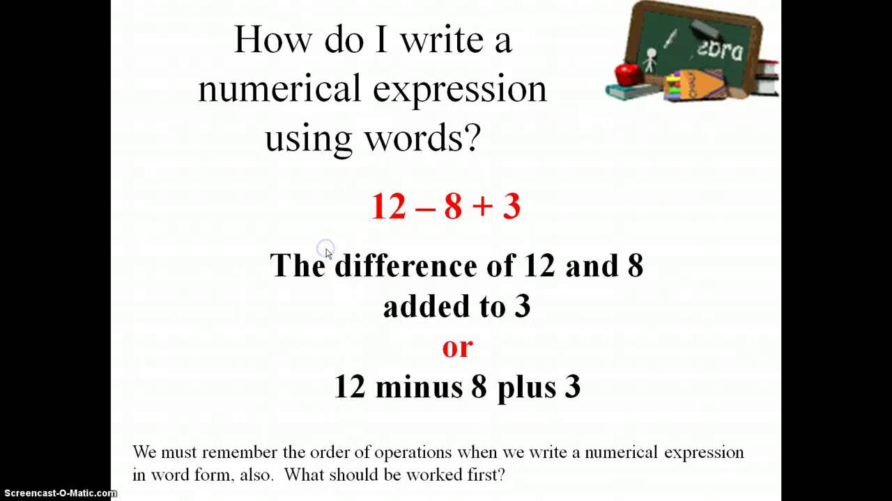 Writing Numerical Expressions Worksheet Numerical Expressions Examples solutions Videos Worksheets