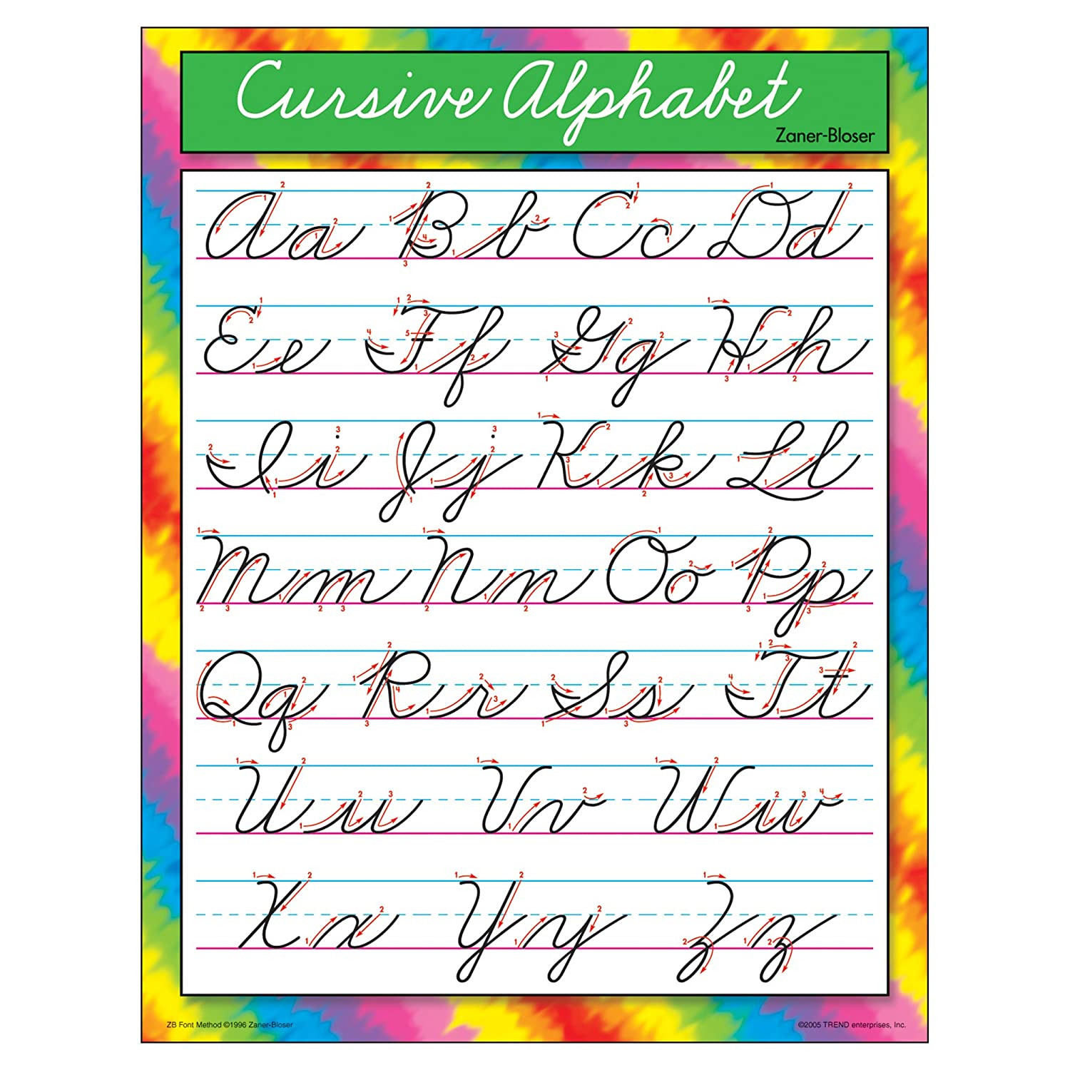 Zaner Bloser Handwriting Worksheet Trend Enterprises Cursive Alphabet Zaner Bloser Learning