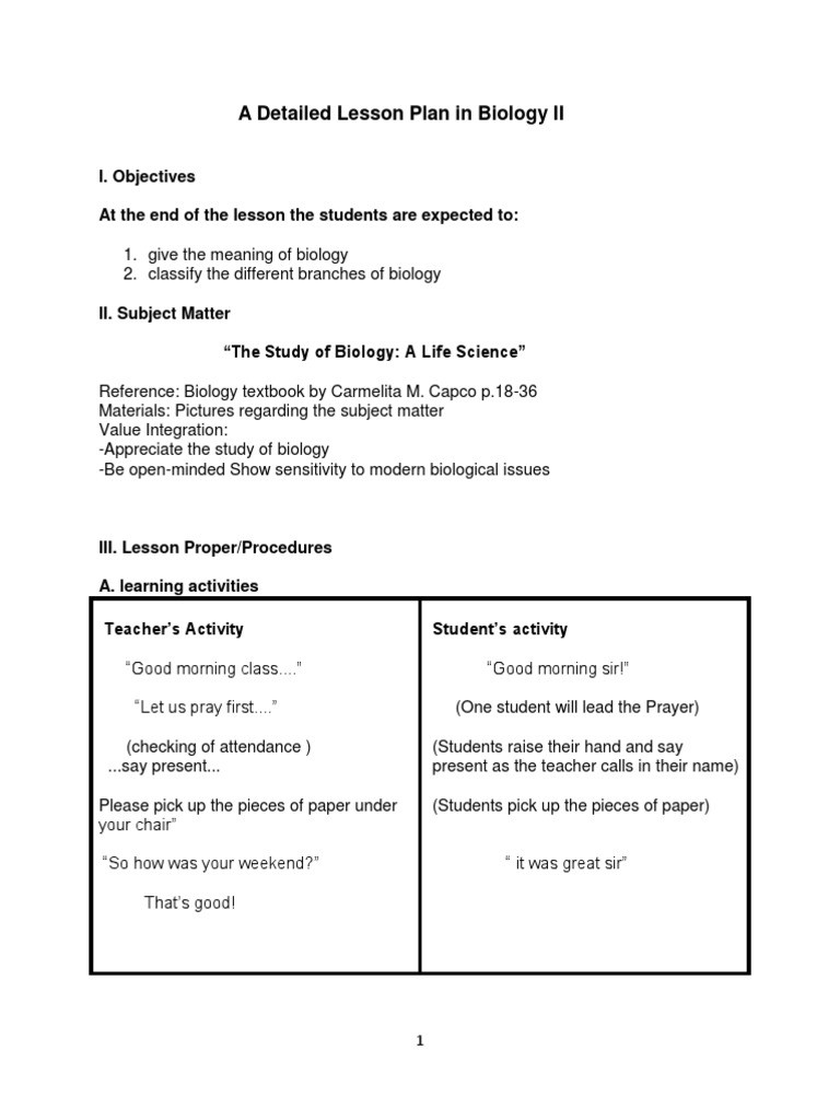 Zoology Worksheets High School Detailed Lesson Plan Biology Botany