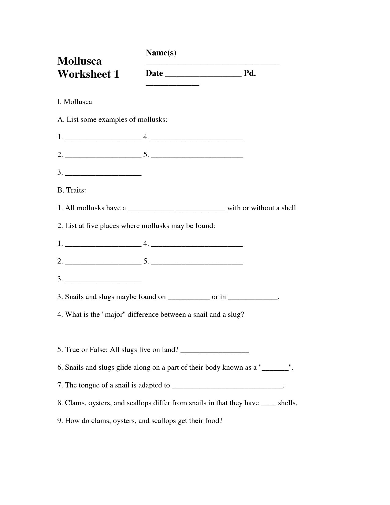 Zoology Worksheets High School Zoology Worksheets Printable