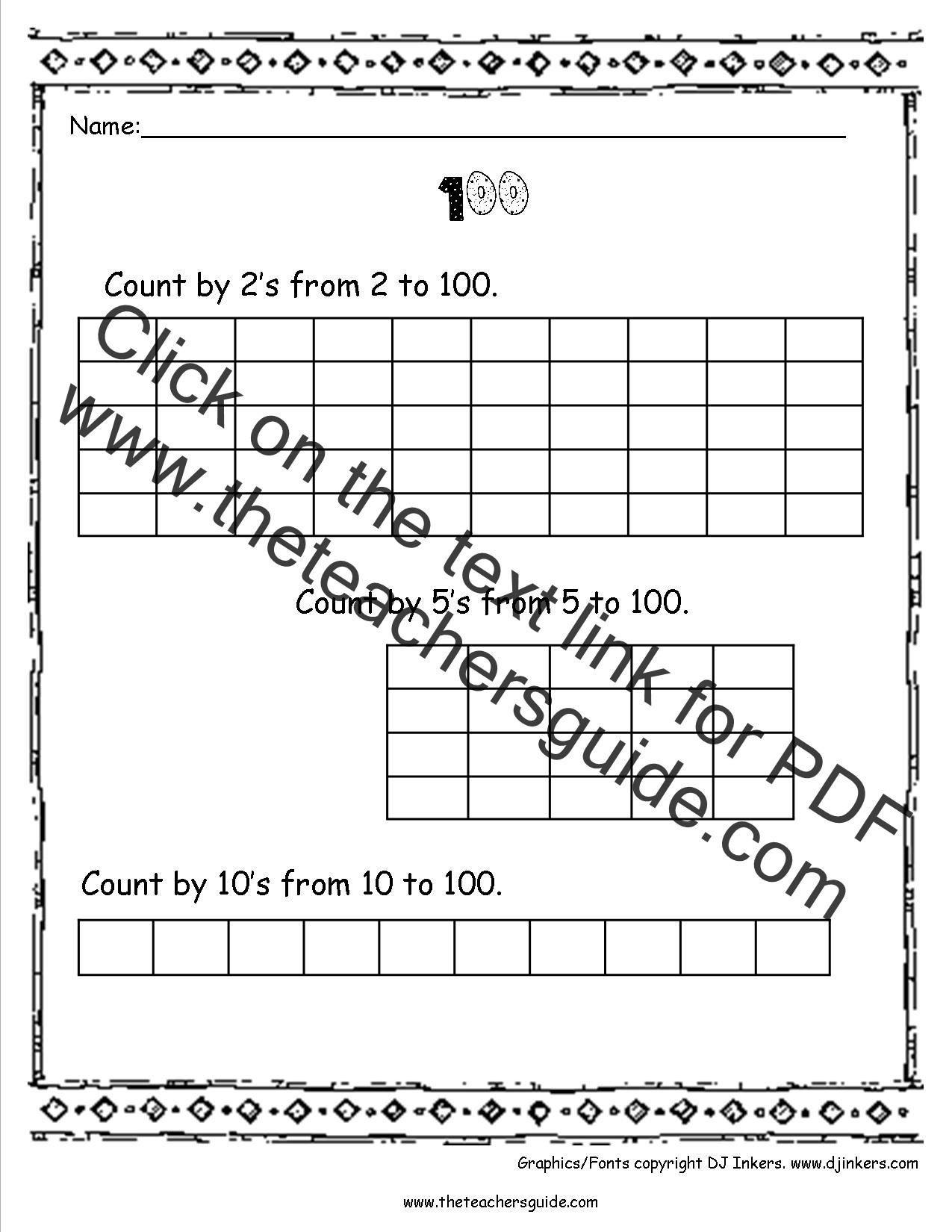 100th Day Of School Worksheets 100th Day Of School Printouts From the Teacher S Guide