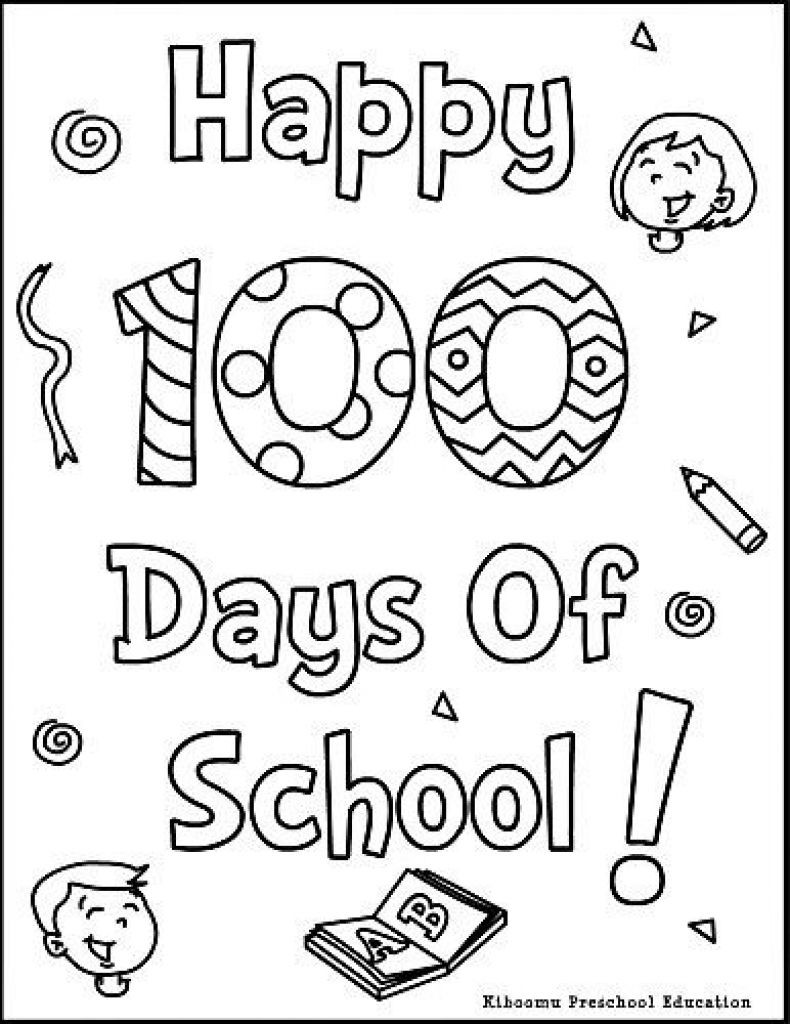 100th Day Of School Worksheets 100th Day School Coloring Pages Kingergarten Pinterest