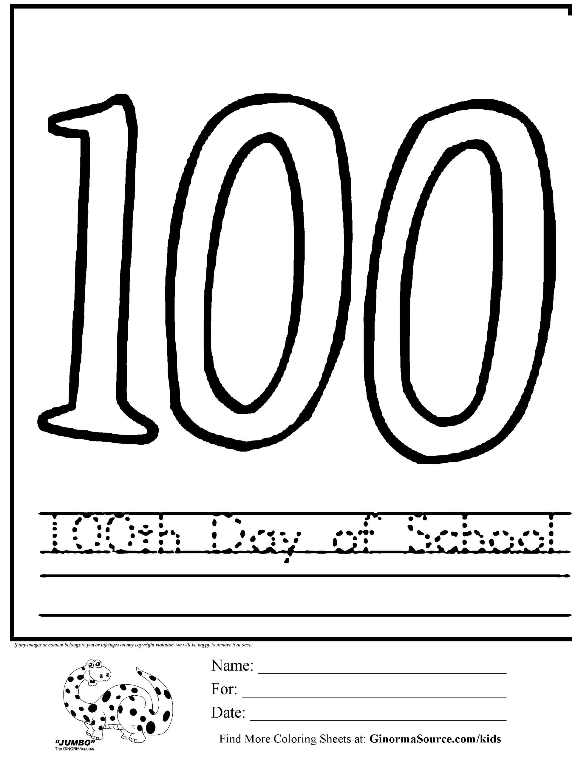 100th Day Of School Worksheets Coloring Pages School Coloring Pages to Print New 100th