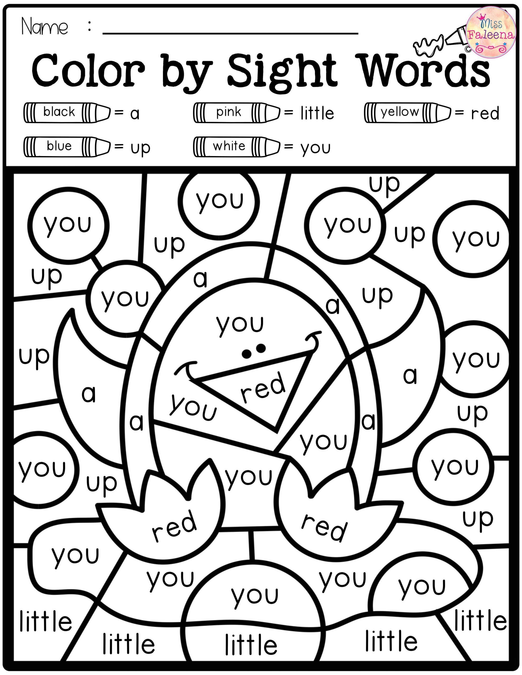 1st Grade Sight Word Worksheets Coloring Book Free Color by Code Sightrds Pre Primer with