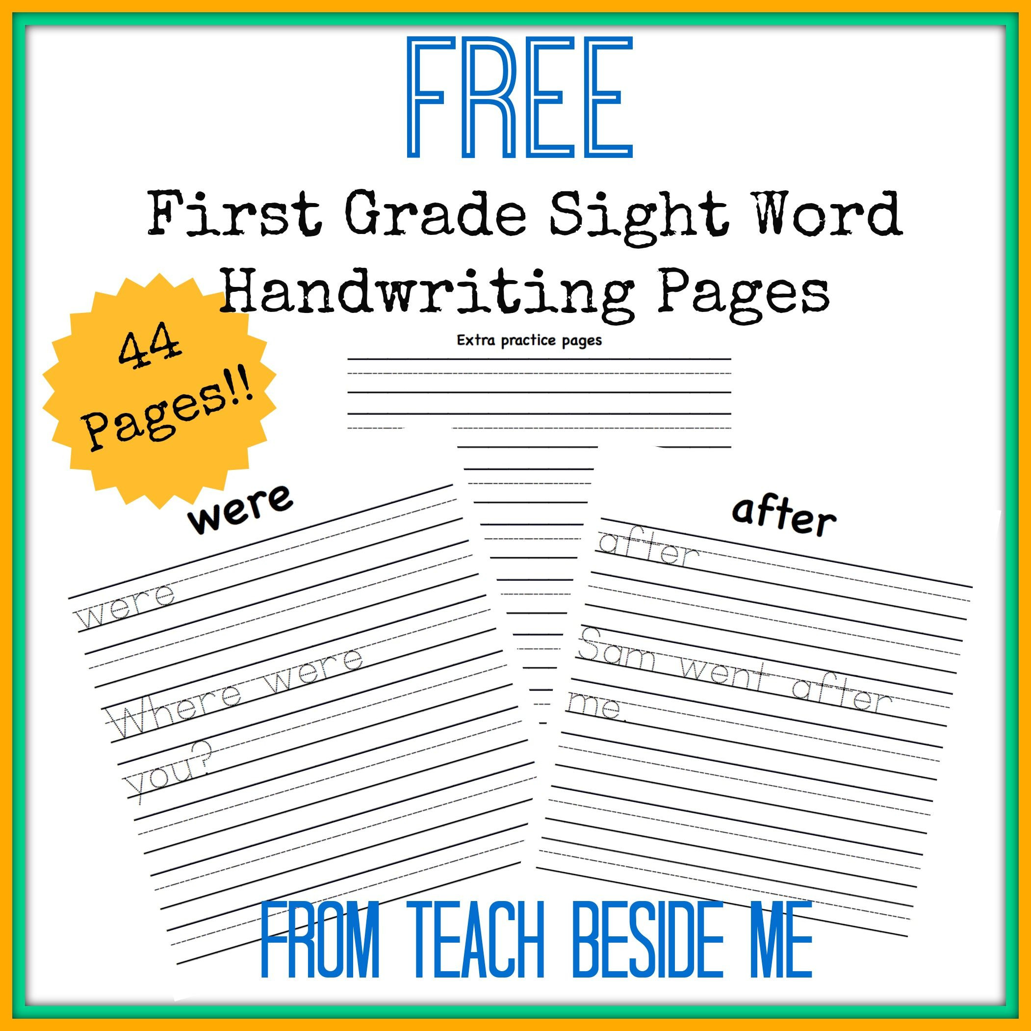 1st Grade Sight Word Worksheets First Grade Sight Word Handwriting