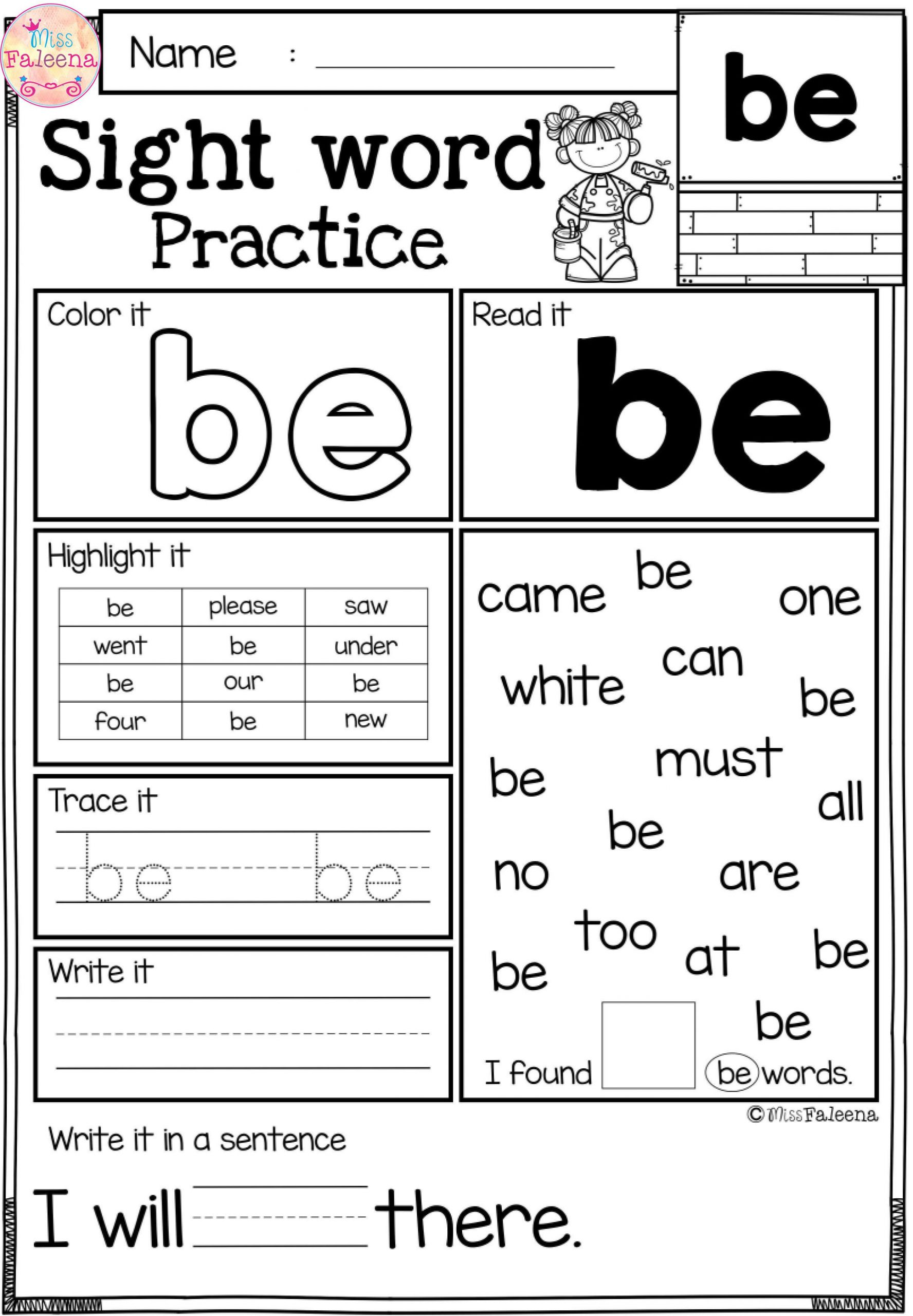 1st Grade Sight Word Worksheets Free Sight Word Practice
