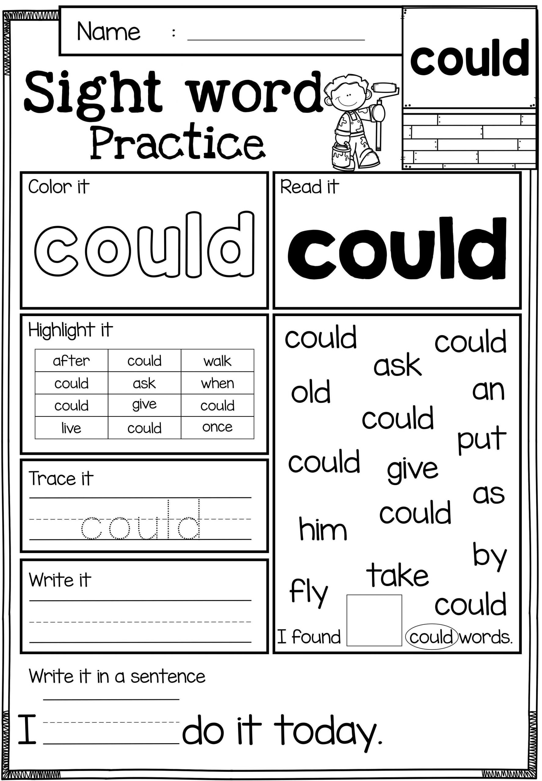 1st Grade Sight Word Worksheets Free Sight Word Practice these Sight Word Practice Pages