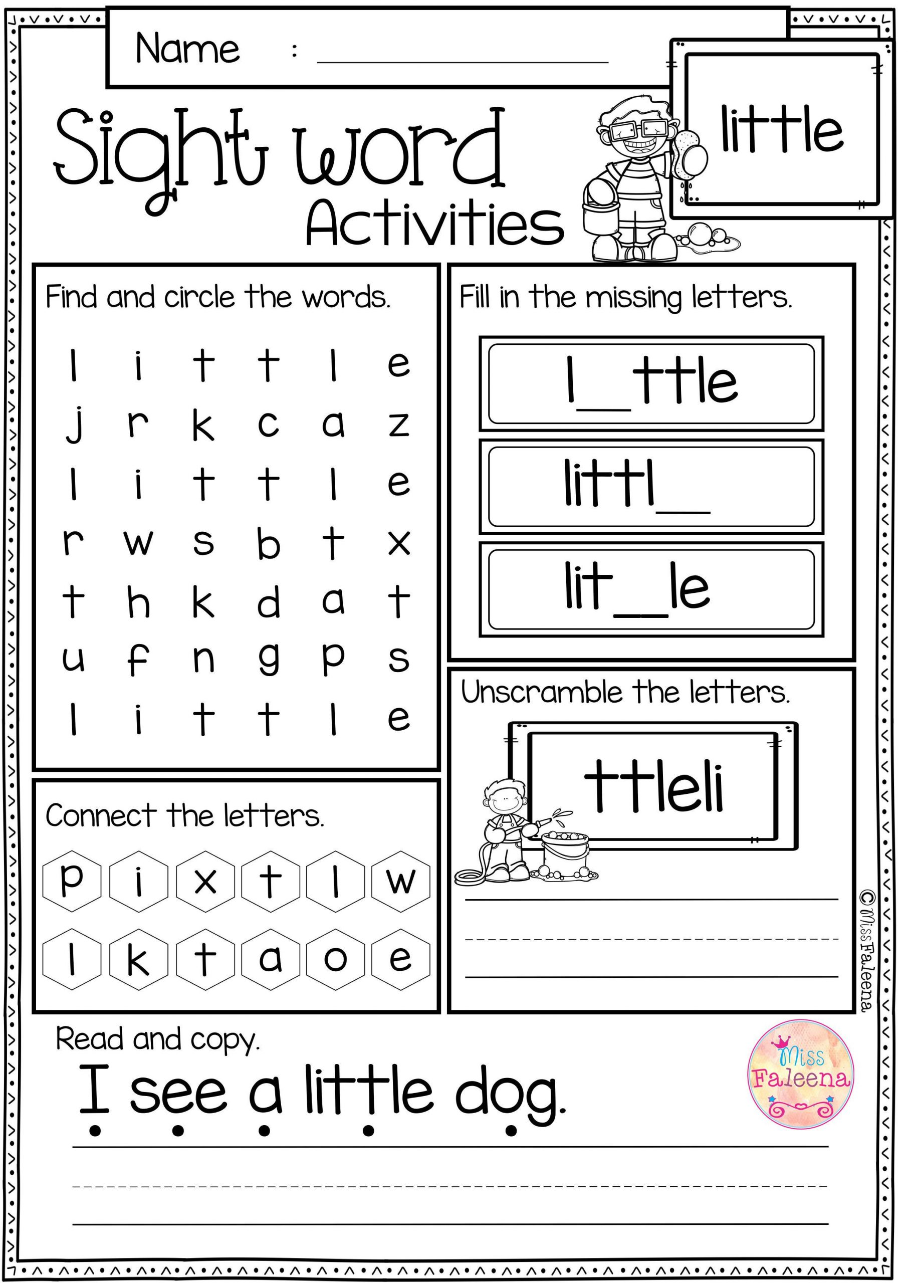 1st Grade Sight Word Worksheets Sight Word Activities Pre Primer