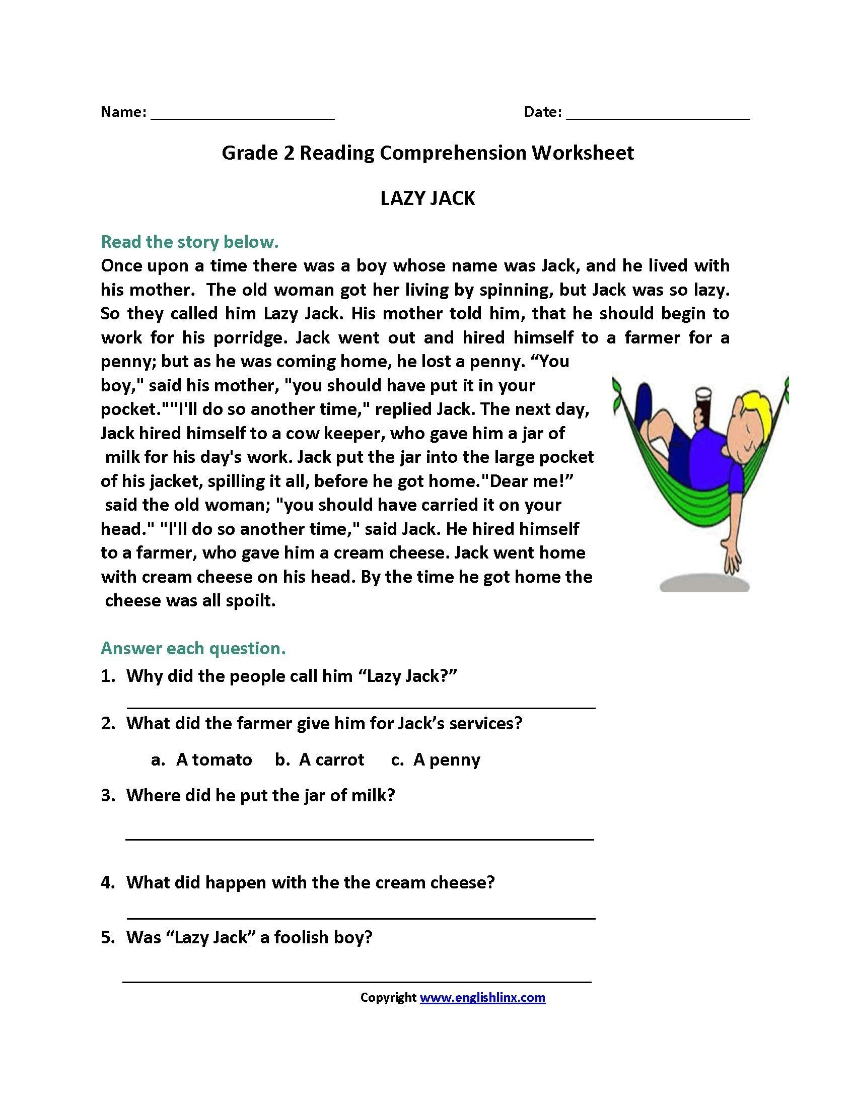 2nd Grade Comprehension Worksheet Reading Prehension Worksheet 2nd Grade Cut and Paste